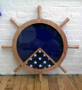 "24"" Ships Wheel Shadow Box"